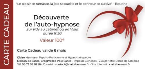 carte cadeau pour une séance découverte d'autod-hypnose