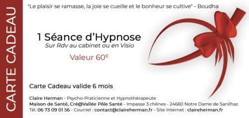 carte cadeau pour une séance d'hypnose